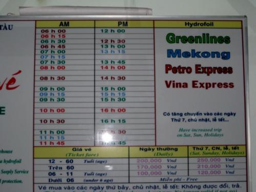 Расписание лодок из Вунгтау в Хошимин