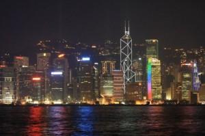 Симфония огней. вид на остров Гонконг с полуострова Коулун